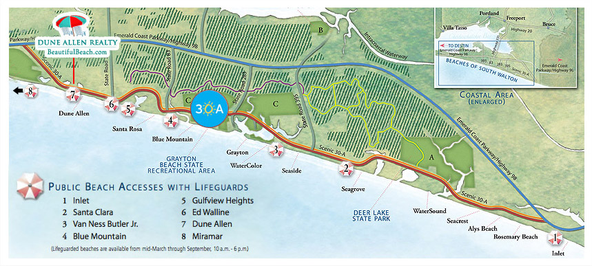 A map of the vacation communities along South Walton / 30A Florida