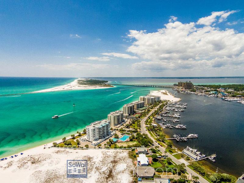 Aerial view of Destin and Miramar Beach near our vacation rentals