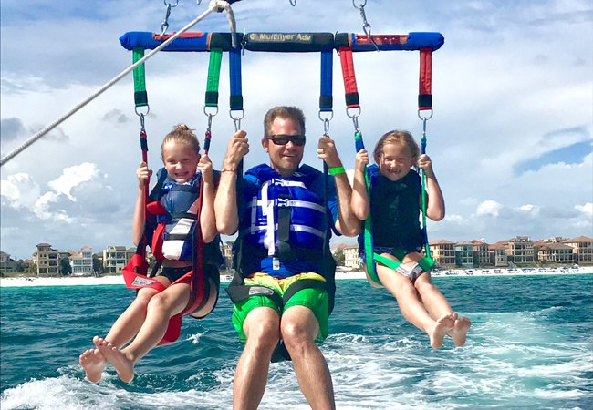 Miramar Beach Banana Boat & Parasailing Combo near our vacation rentals