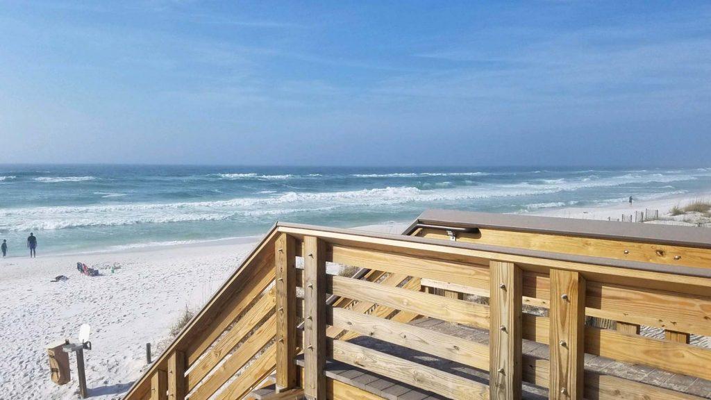 Beach goers enjoying the new boardwalk at Dune Allen Beach