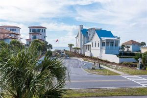 View of gorgeous beach rental home with the Gulf of Mexico in the background