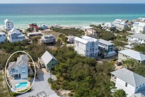 An aerial view of this extra large, private home rental with pool in Inlet Beach FL. It's in a quiet area of 30A.
